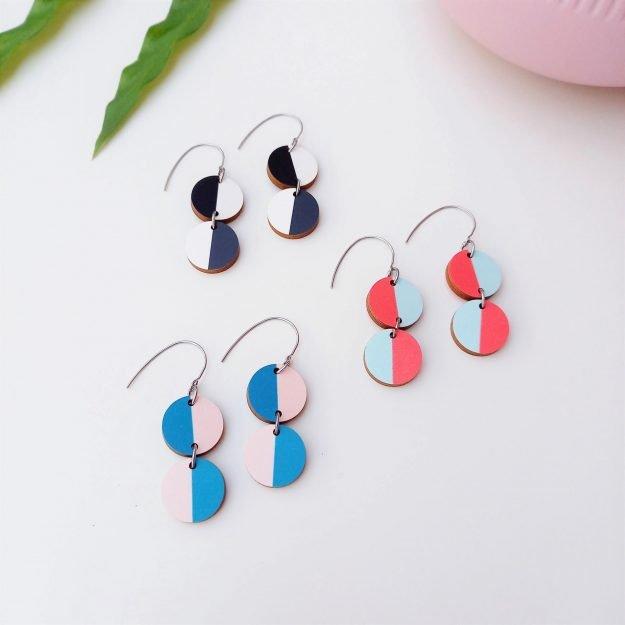 Unique Ella Colourful Circle Miami Earrings Sustainable Jewellery