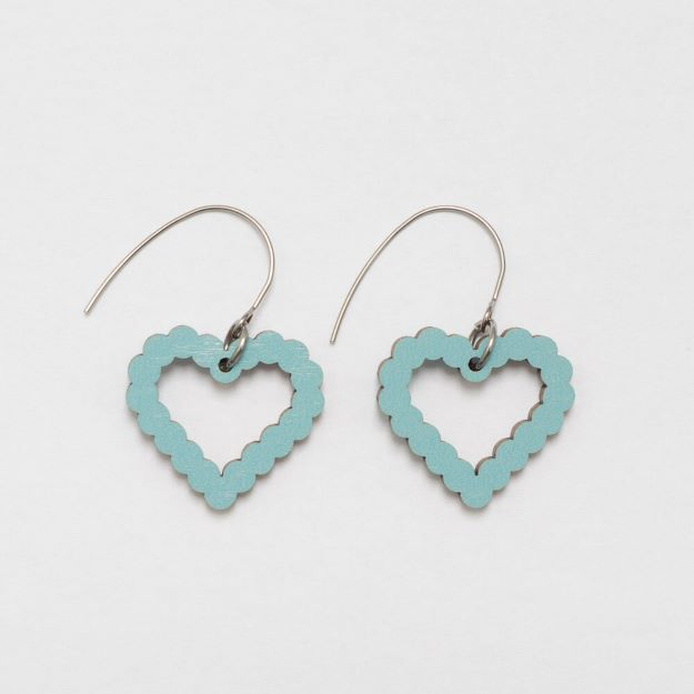 Bubble Heart Blue wooden earrings circle design sustainable jewellery Unique Ella