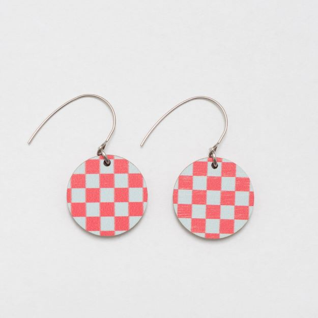 Chess Red/Pale blue wooden earrings circle design sustainable jewellery Unique Ella
