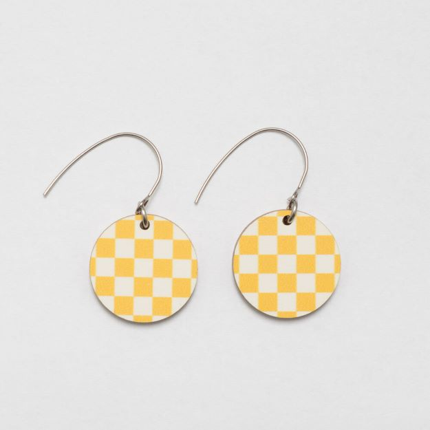 Chess Yellow/White wooden earrings circle design sustainable jewellery Unique Ella