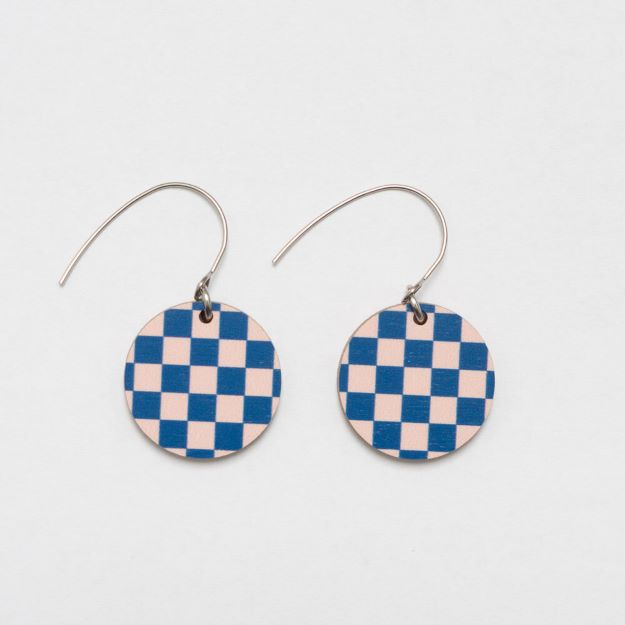Chess Blue/Pale Pink wooden earrings circle design sustainable jewellery Unique Ella