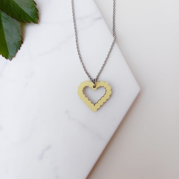 Colourful Wooden Heart Necklace Unique Ella Sustainable Jewellery