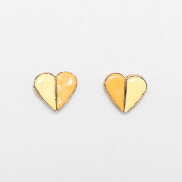 Wooden Enamel Heart Earrings Yellow Unique Ella Jewellery Scandi Design
