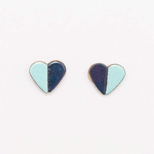 Wooden Enamel Heart Earrings Blue Unique Ella Jewellery Scandi Design
