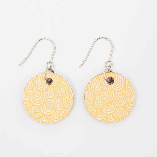 Wooden Wave Design Drop Earrings in Yellow Unique Ella Jewellery