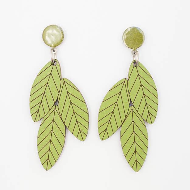 Wooden Rowan Design Stud Earrings in Green Unique Ella Jewellery