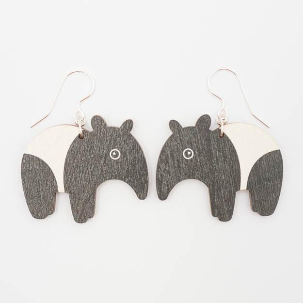 Wooden Tapir Design Hook Earrings in Black/White Unique Ella Jewellery