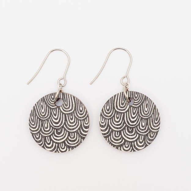 Wooden Wave Design Drop Earrings in Black Unique Ella Jewellery