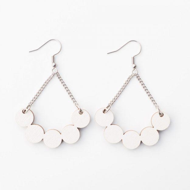Wooden Little Rowan Earrings in White at Unique Ella Jewellery Shop