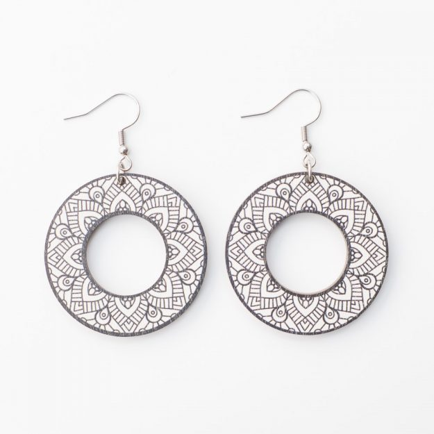 Sustainable Wooden Samoan Earrings in Black/White at Unique Ella Jewellery Shop