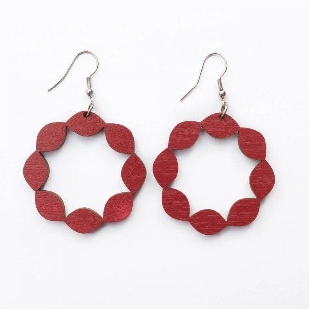Wooden Sweetie Design Drop Earrings in Red Unique Ella Jewellery