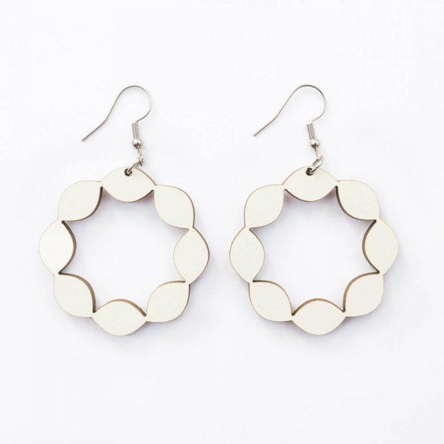 Wooden Sweetie Design Drop Earrings in White Unique Ella Jewellery