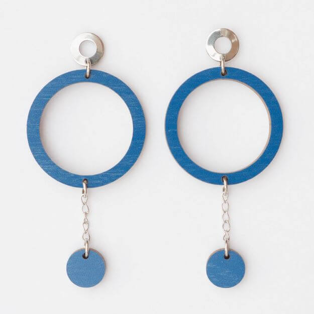 Wooden Circle Oona Earrings Blue Unique Ella Design Sustainable Jewellery