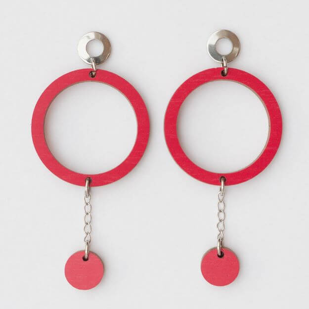 Wooden Circle Oona Earrings Red Unique Ella Design Sustainable Jewellery
