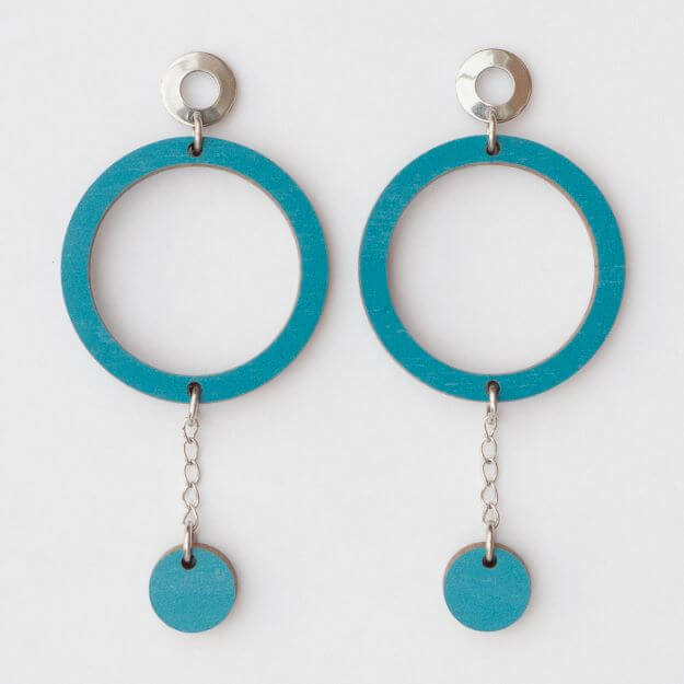 Wooden Circle Oona Earrings Teal Unique Ella Design Sustainable Jewellery