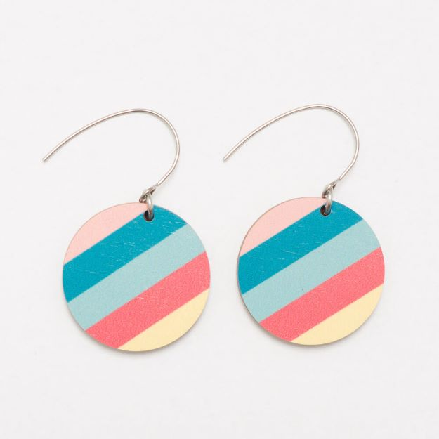 Colourful Florida wooden earrings with hook circle design sustainable jewellery Unique Ella Jewellery