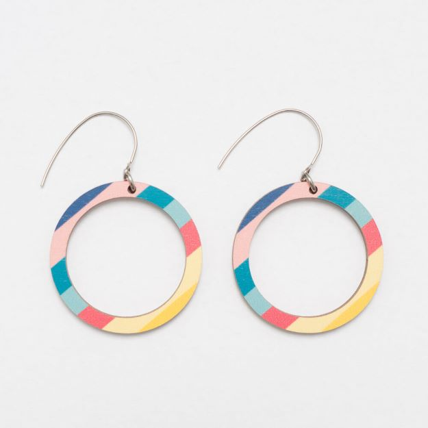 Colourful Big Florida wooden earrings with hook circle design sustainable jewellery Unique Ella Jewellery