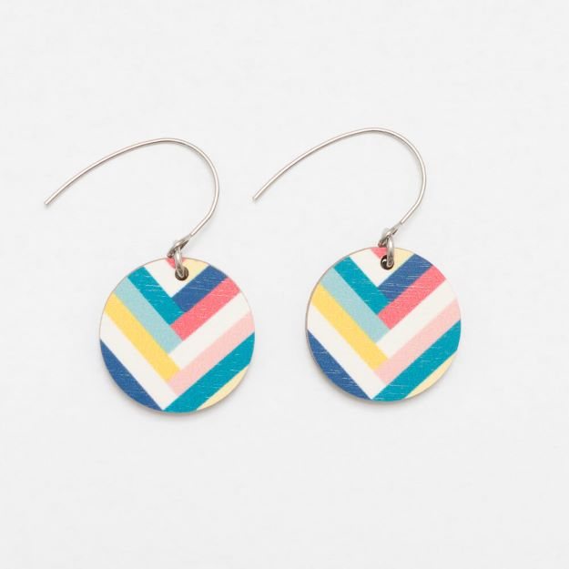 Colourful Key West wooden earrings with hook circle design sustainable jewellery Unique Ella Jewellery