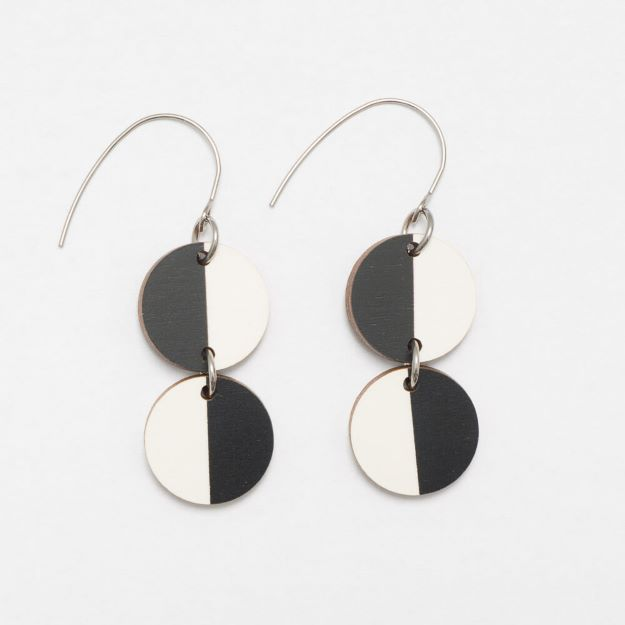 Miami wooden Earrings Black/White circle design sustainable jewellery Unique Ella