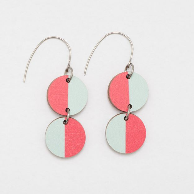 Miami wooden Earrings Red/Pale Blue circle design sustainable jewellery Unique Ella