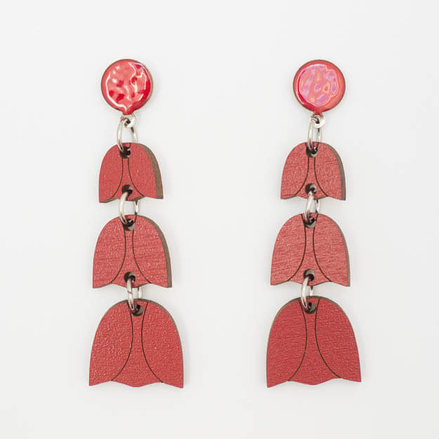 Wooden Bluebell Design Stud Earrings in Red Unique Ella Jewellery
