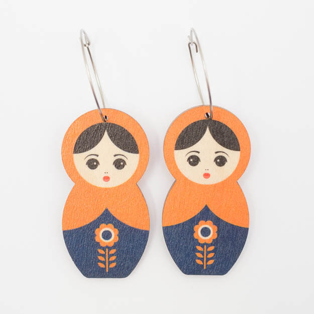 Wooden Matryoshka Design Hoop Earrings in Orange Unique Ella Jewellery