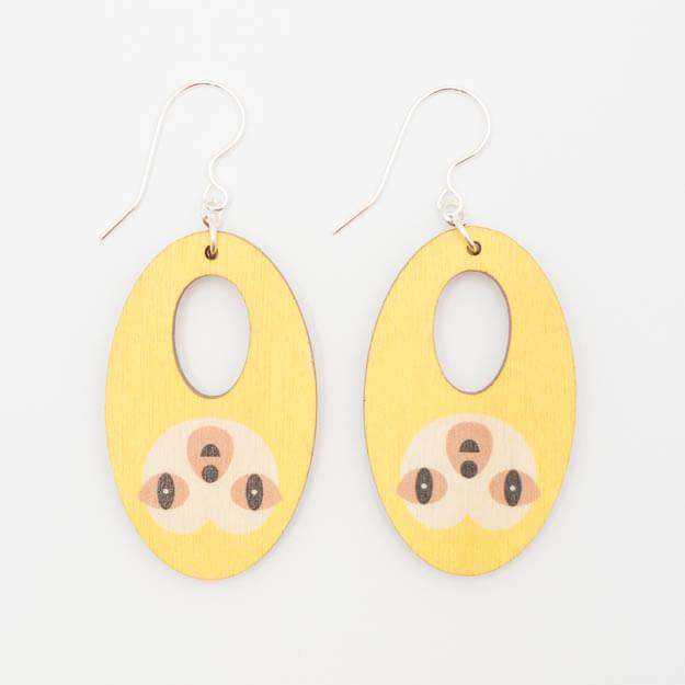 Wooden Sloth Design Hook Earrings in Yellow Unique Ella Jewellery