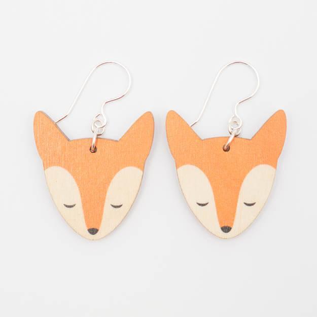 Wooden Fox Design Hoop Earrings in Orange Unique Ella Jewellery