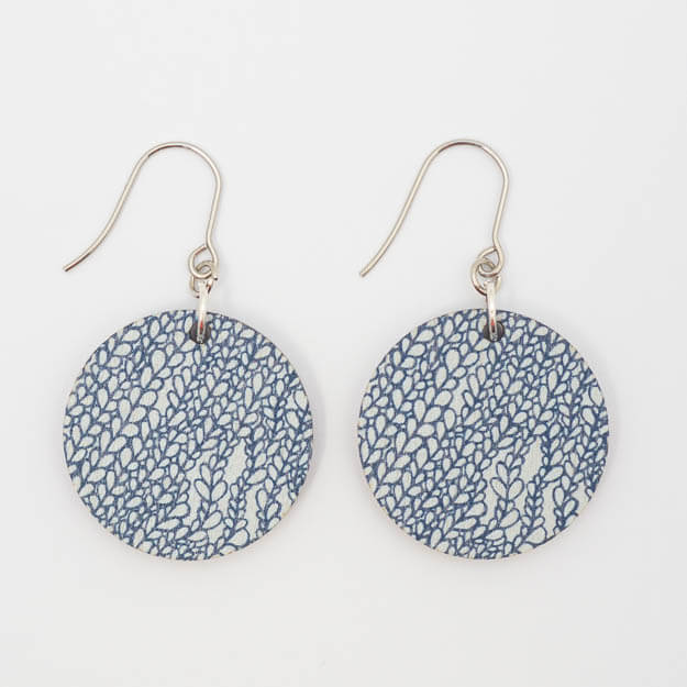 Wooden Bud Design Drop Earrings in Blue Unique Ella Jewellery