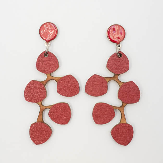 Wooden Snowberry Design Stud Earrings in Red Unique Ella Jewellery