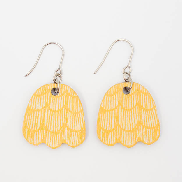 Wooden Pine Cone Design Drop Earrings in Yellow Unique Ella Jewellery