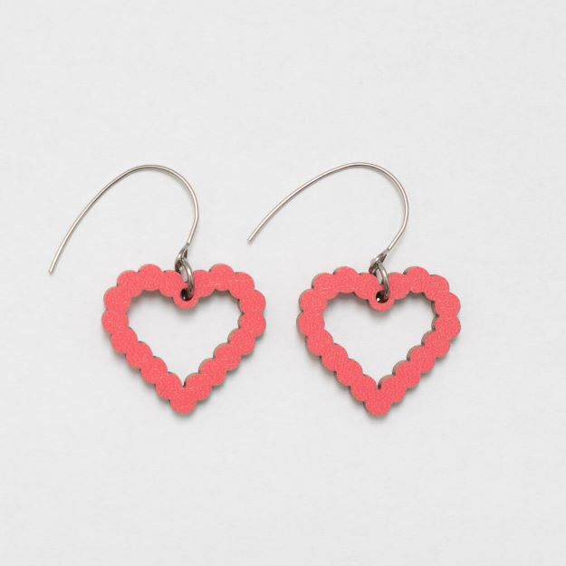 Bubble Heart Red wooden earrings circle design sustainable jewellery Unique Ella