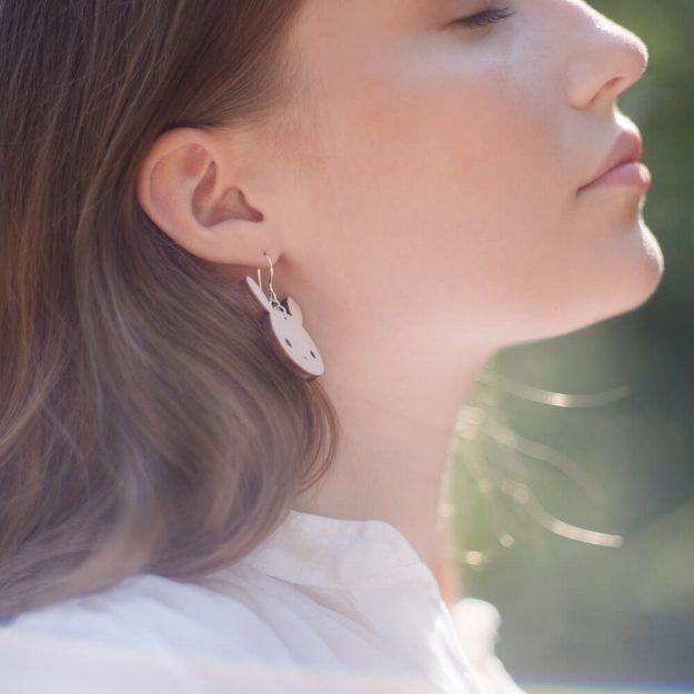 Wooden Bunny Design Drop Earrings in Unique Ella Jewellery