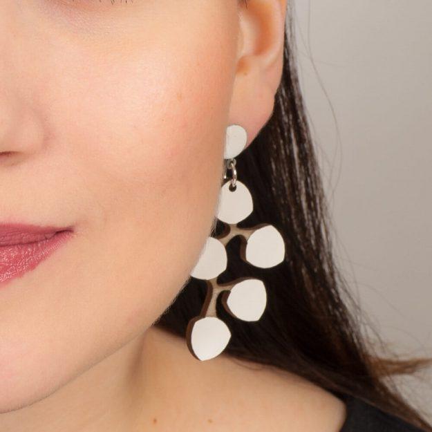Woman wearing White Snowberry earrings